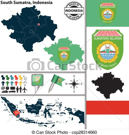 Clip Art Vector of Map of South Sumatra, Indonesia.
