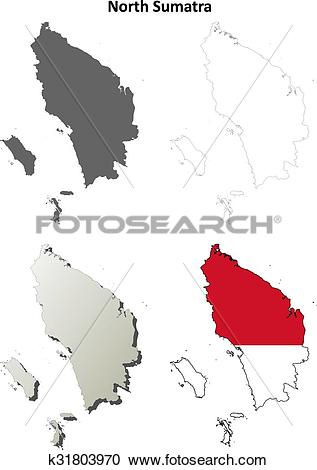 Clipart of North Sumatra blank outline map set k31803970.