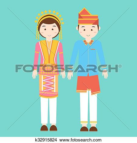 Clipart of aceh north sumatra couple men woman wearing traditional.