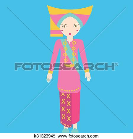 Clipart of Indonesia minang padang sumatra Traditional Costume.
