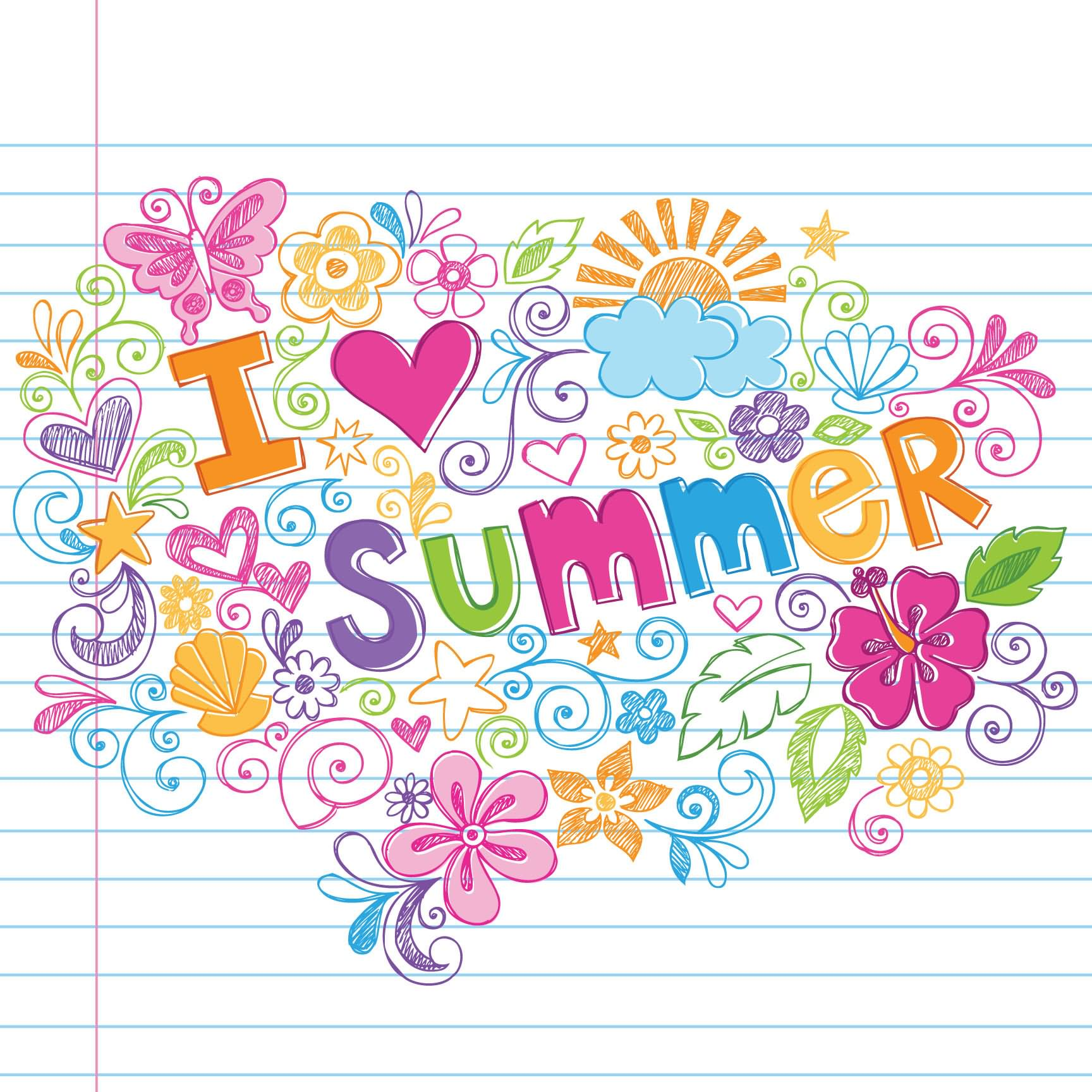 Love summer clipart graphic.