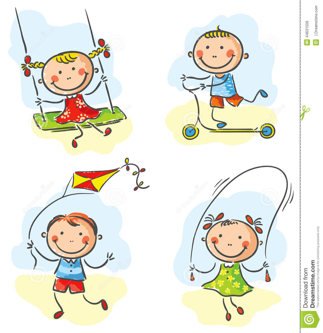 Outdoor Activities For Kids Clipart.