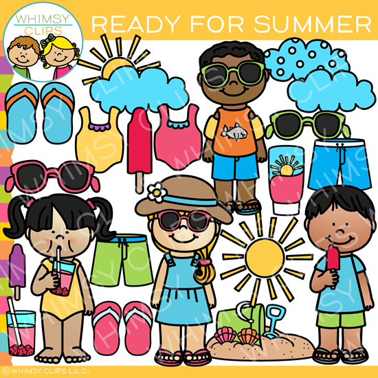 Kids Ready For Summer Clip Art.