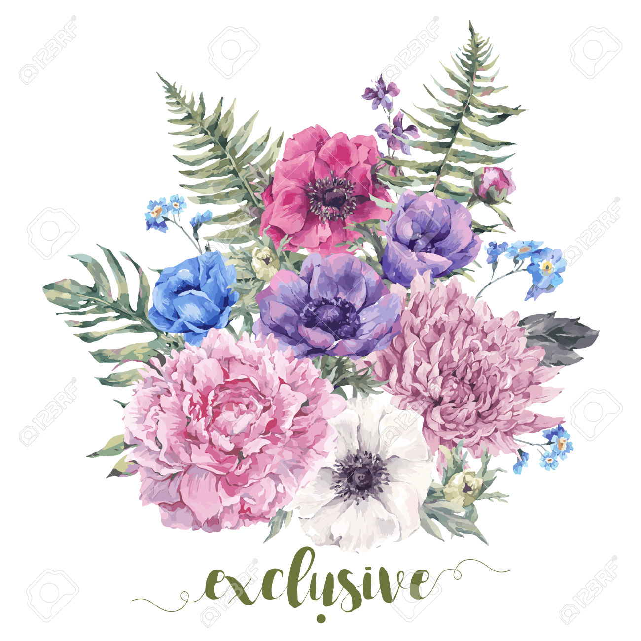 Summer Vintage Floral Greeting Card With Blooming Anemones, Peony.