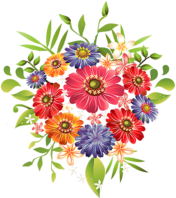 A Bouquet of Summer Flowers Clip Art.
