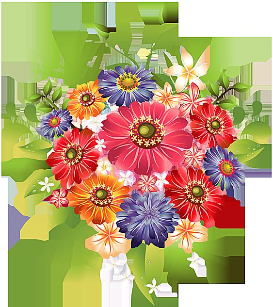 A Bouquet of Summer Flowers Clip Art.