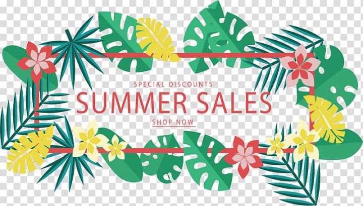 Summer sales poster, Web banner, Tropical leaves discount.