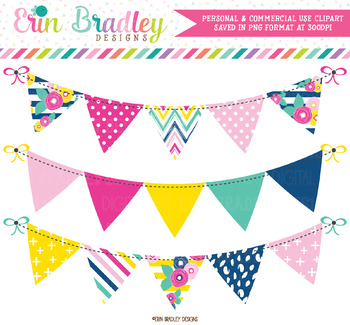 Summer Brights Bunting Clipart Banners.