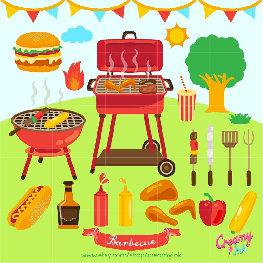 Summer Barbecue clip art featuring grill, hamburger, hotdog.