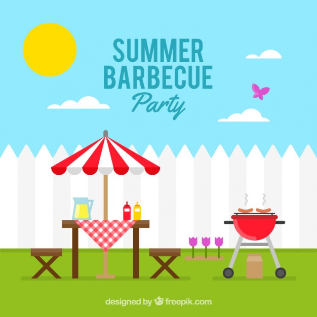 Sunny day with a barbecue party background Vector.