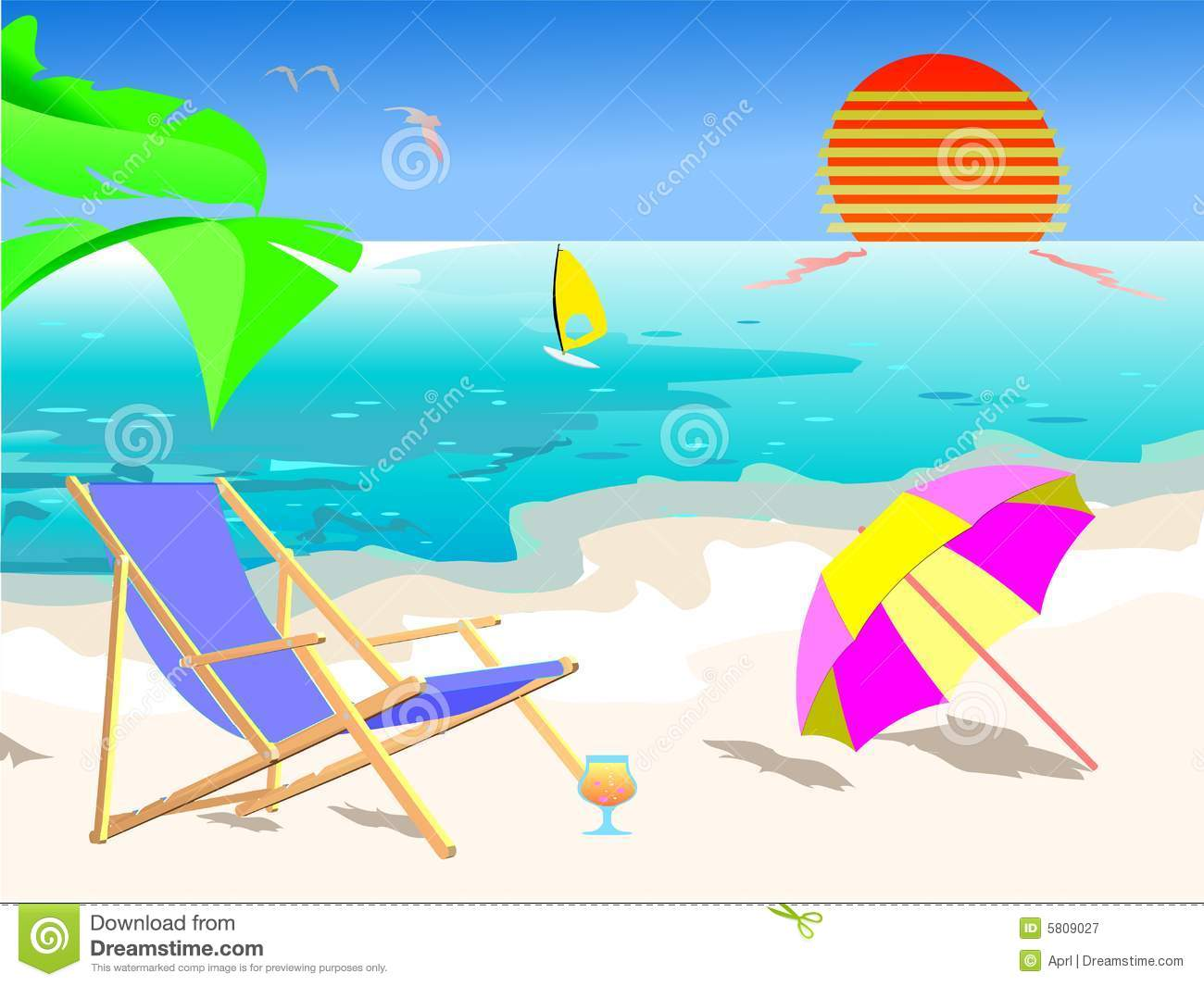 Summer beach scene clipart.