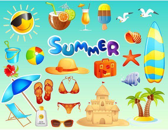 Instant Download Beach Clip Art, Summer Beach Digital.