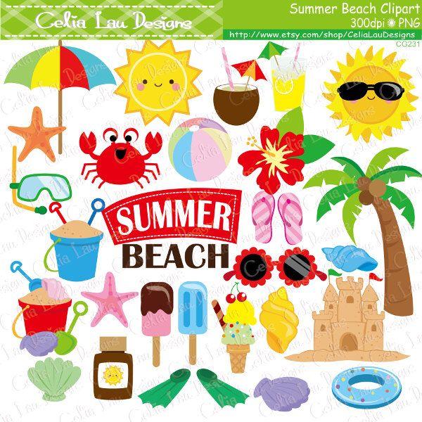 Summer clipart, Beach clip art.
