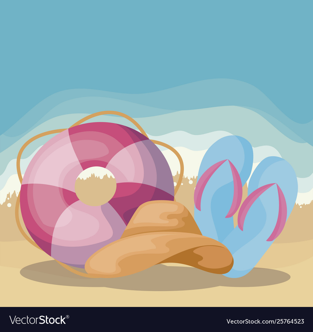 Summer beach scene with float and sandals.
