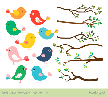 Cute color birds clipart set, Tree branches with green leaves, spring,  summer.