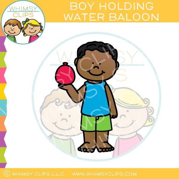 Summer Boy Holding a Red Water Balloon Clip Art.