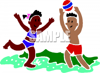 School Clip Art Picture of Two Ethnic Children Playing on Vacation.