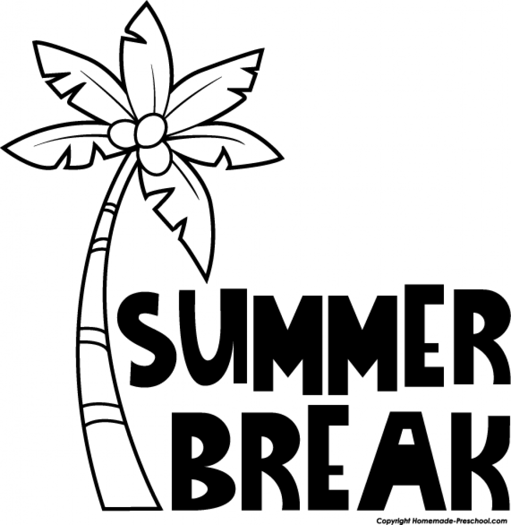summer clip art black and white 2 clipartcow with summer break.