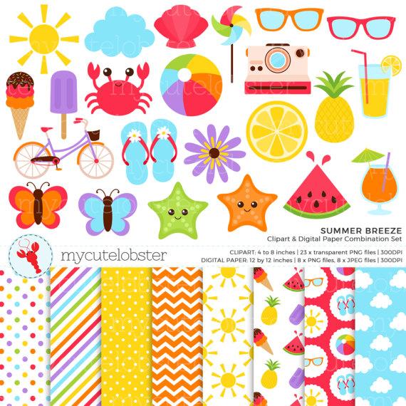 Summer Breeze Clipart & Digital Paper Set.