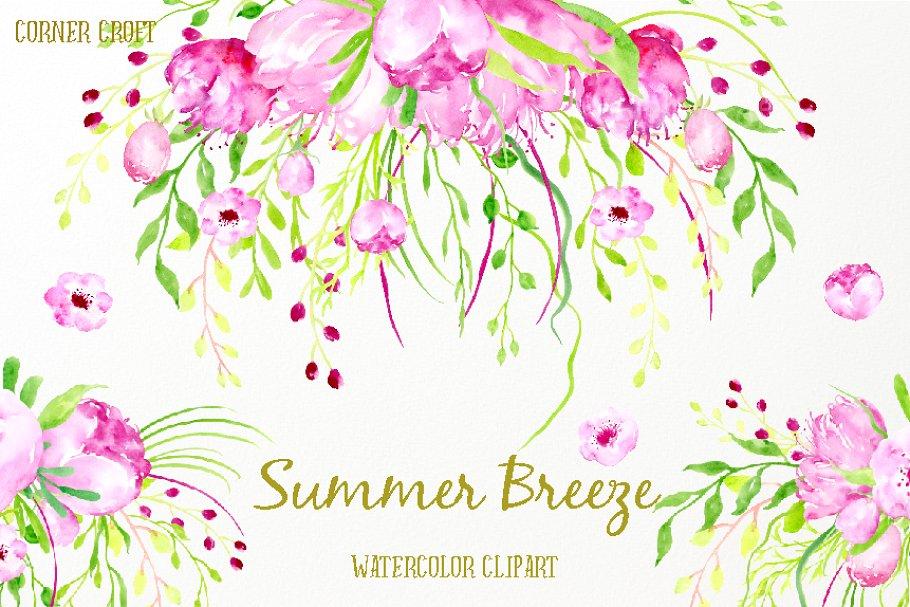 Watercolor Clipart Summer Breeze ~ Illustrations ~ Creative.