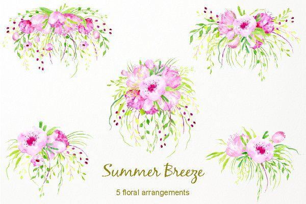 Watercolor Clipart Summer Breeze.