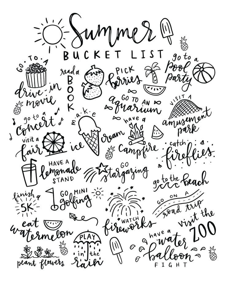 Summer Bucket List Free Printable Coloring Page.