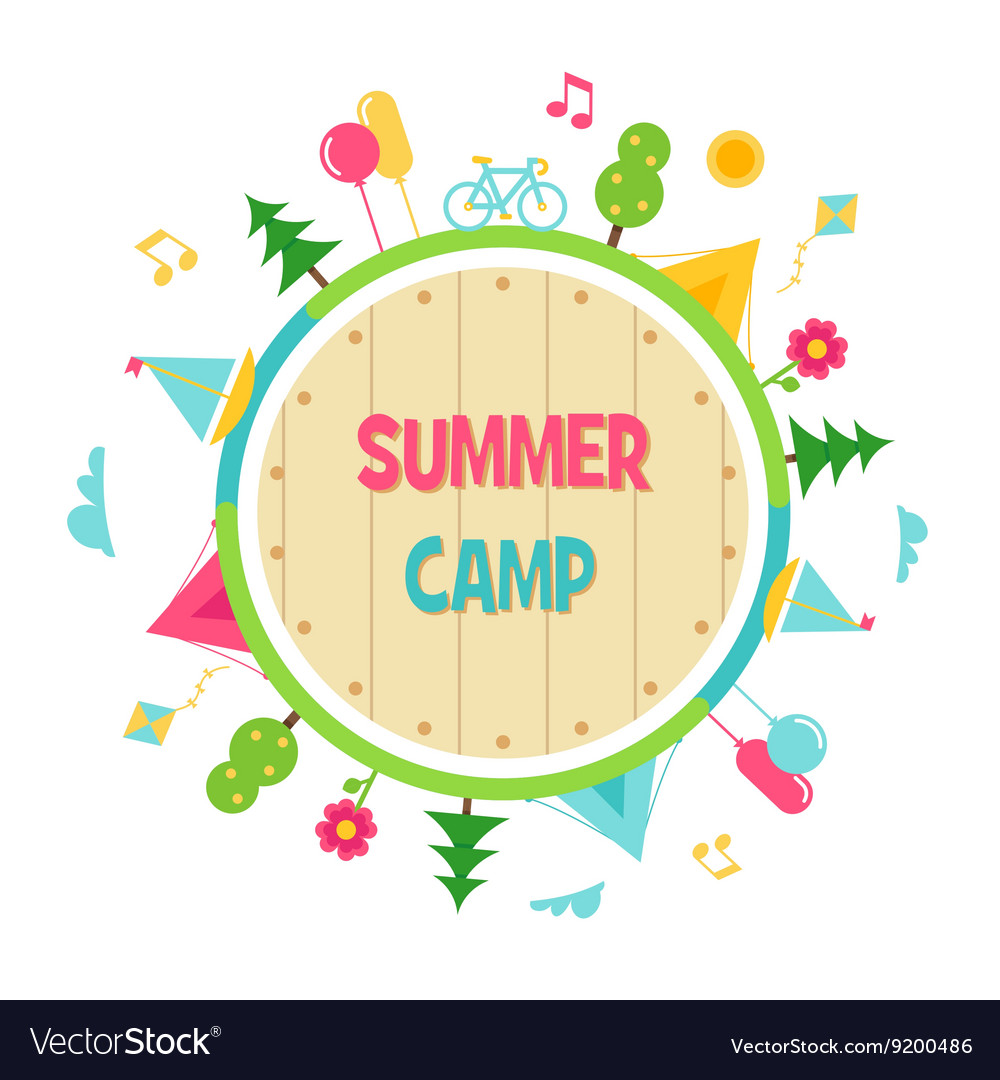 Summer Camp and Outdoor Activities Circle Sign.
