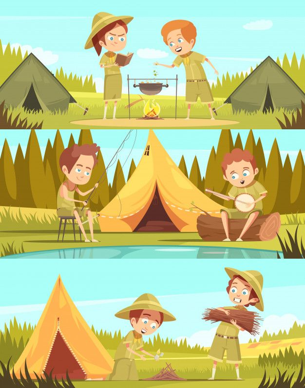 Scouting boys summer camp activities 3 retro cartoon.
