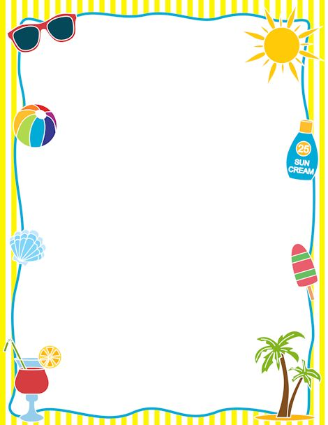 Summer day camp border clipart.