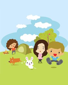 Cute boy&girl Summer camp Vector illustration. Vector clip art.