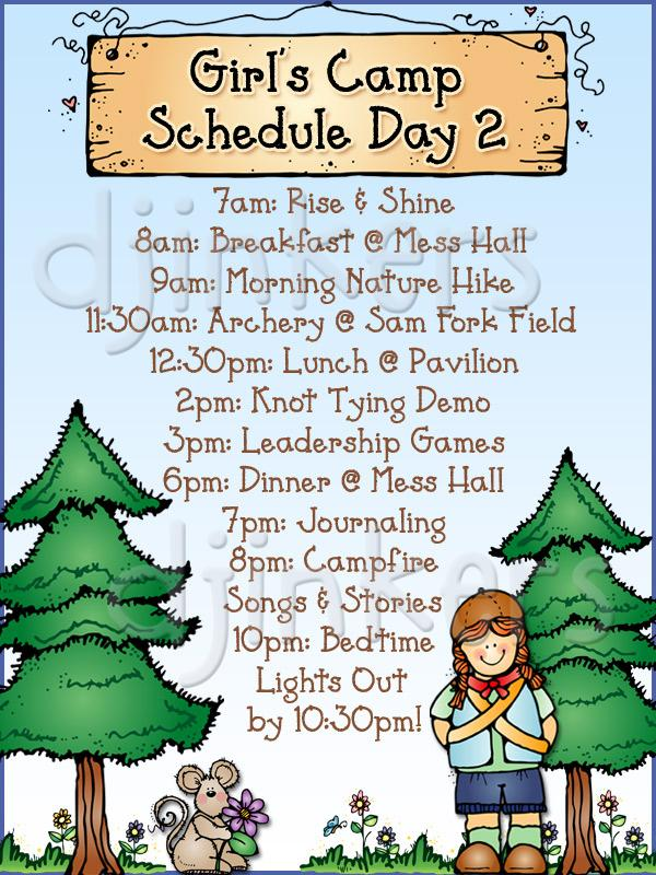 camp schedule, girls camp, summer camp, camping clip art, summer.