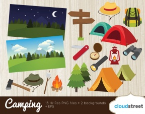 Summer Camp Clip Art Black And White.