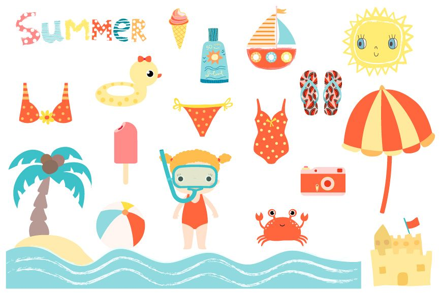 Cute summer beach clip art collection, Children holiday clipart.