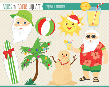 Tropical Christmas Clip Art.
