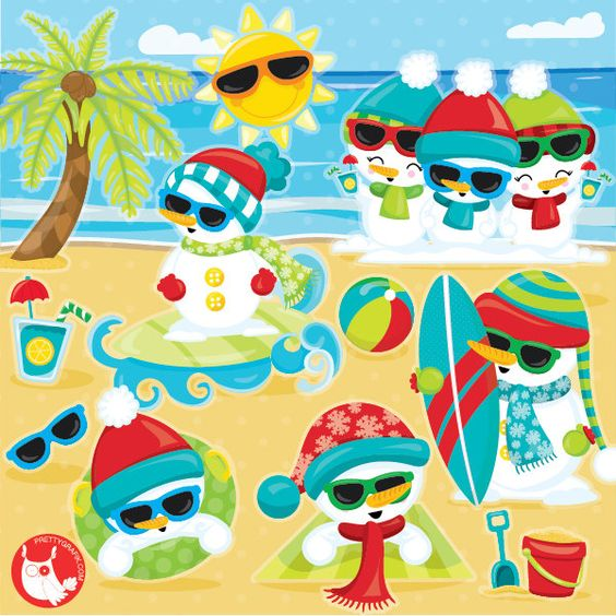 Summer Snowman clipart commercial use, Summer christmas.