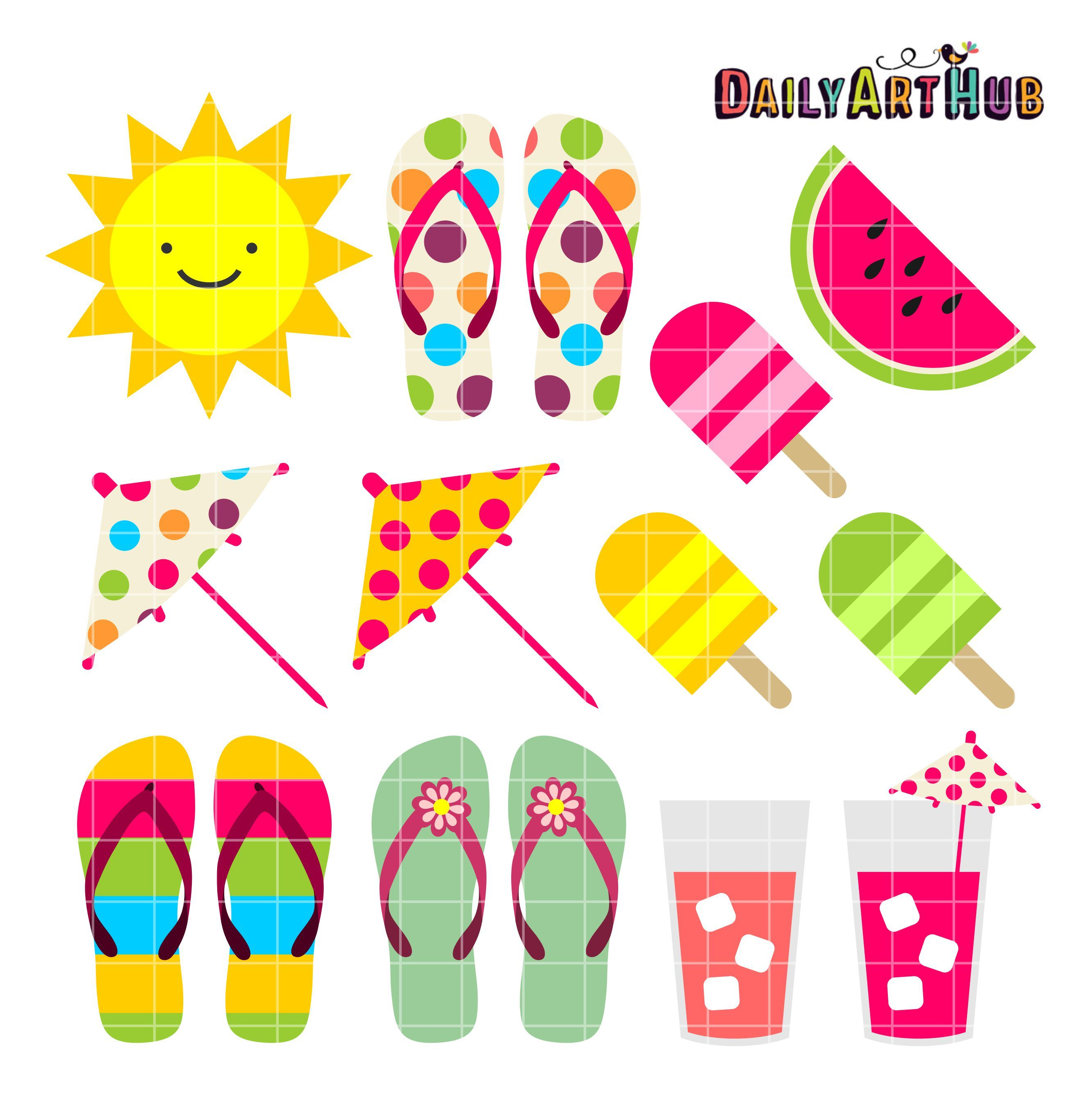 Summer Things Clip Art Set.