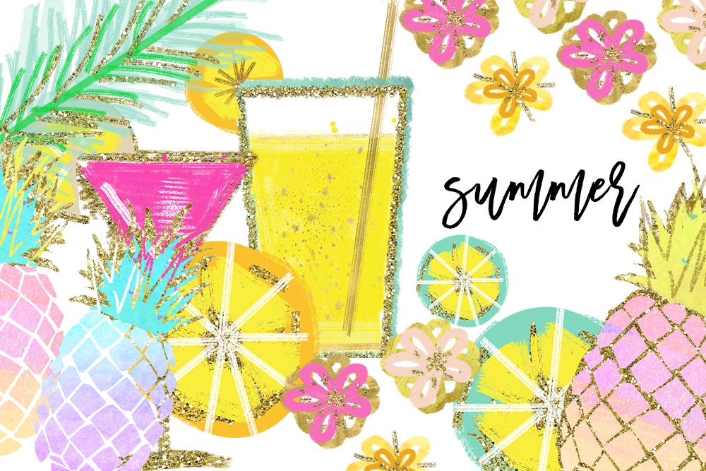 Tropical Clip Art, Watercolor Summer Clipart, Pineapple Summer Clipart,  Beach Clipart, Lemon Clipart, Pineapple Clipart, signature drink.