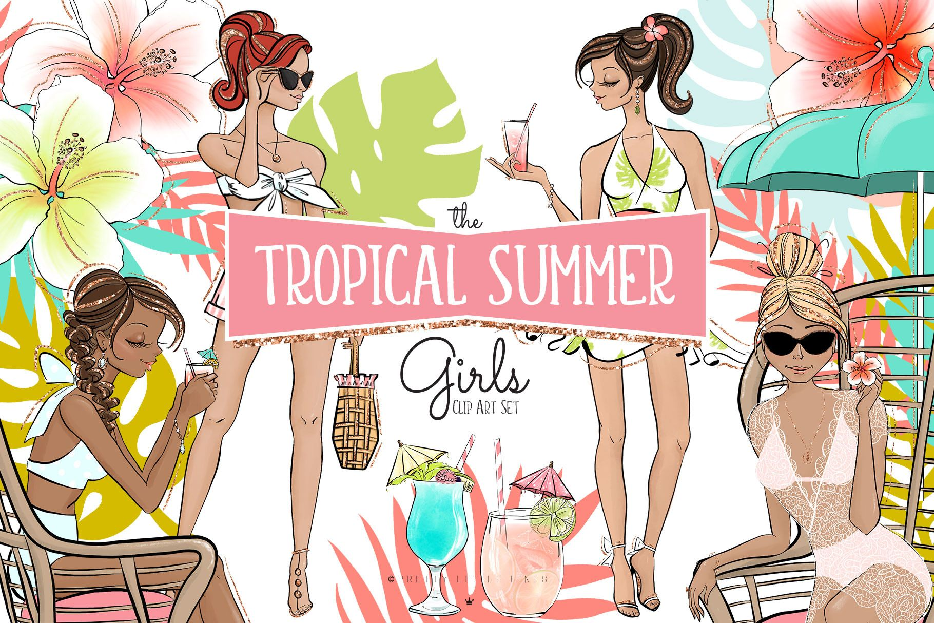 Tropical Summer Girls Clipart in 2019.