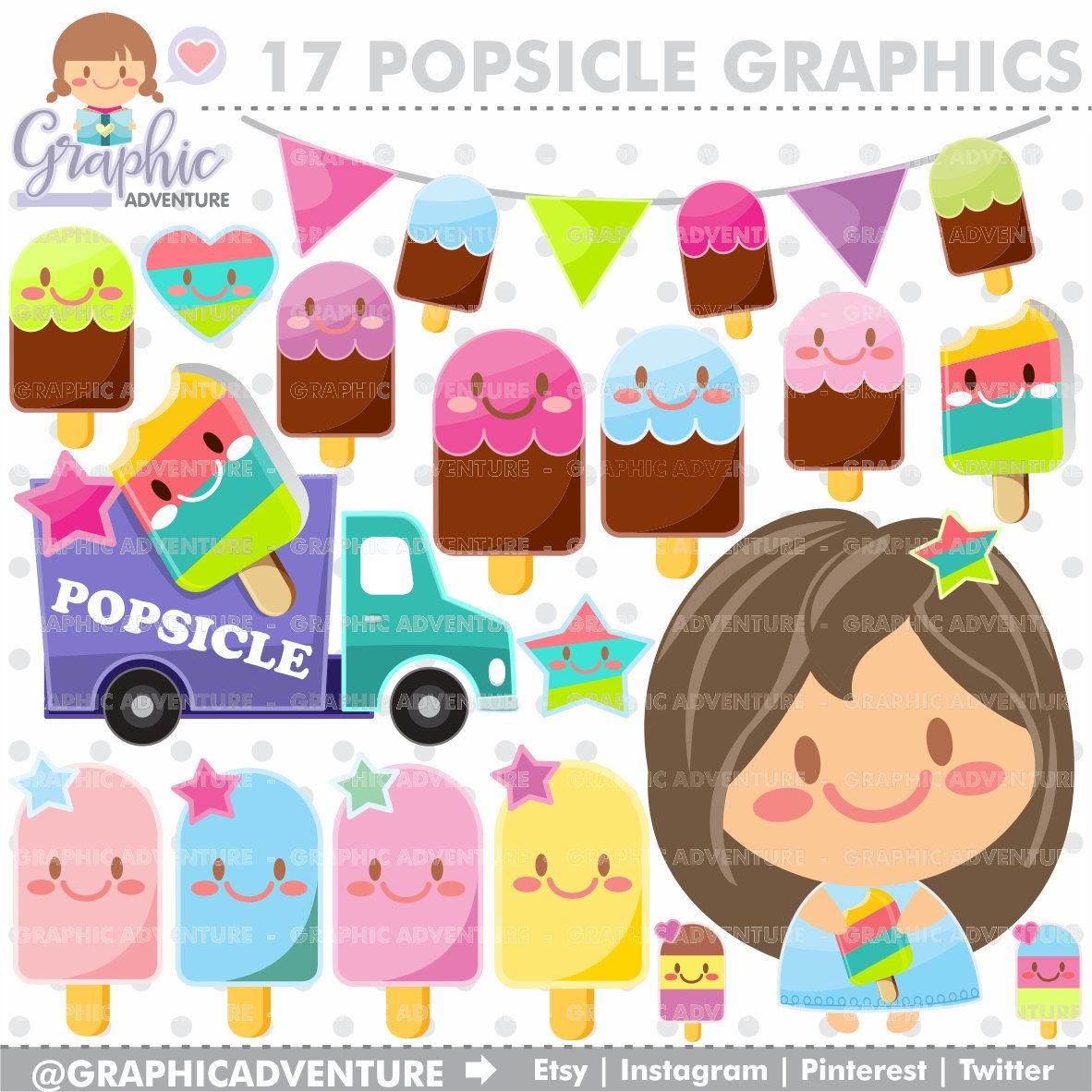Summer Clipart, Summer Graphics, Popsicle Clipart.