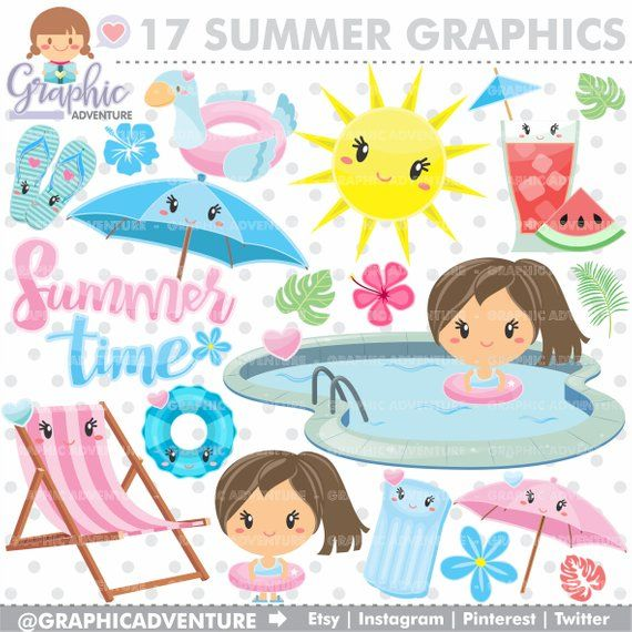 Summer Clipart, Summer Graphic, COMMERCIAL USE, Kawaii.