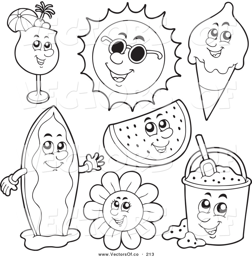 Vector of a Digital Set of Coloring Page Outlines of Summer.
