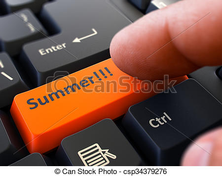 Stock Illustrations of Finger Presses Orange Keyboard Button.