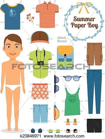 Clipart of Paper doll boy in summer clothes and shoes k23846971.