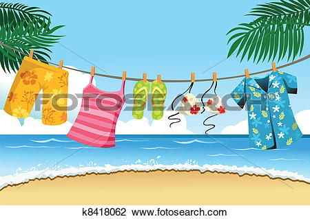 Clipart of Drying summer clothes k8418062.
