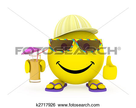 Stock Illustration of Happy face yellow ball in summer clothes.