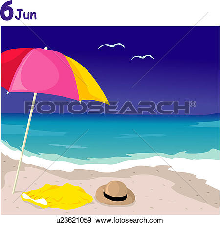 Stock Illustration of umbrella, june, parasol, view, scene, summer.