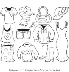 Summer clothes clipart black and white 5 » Clipart Station.