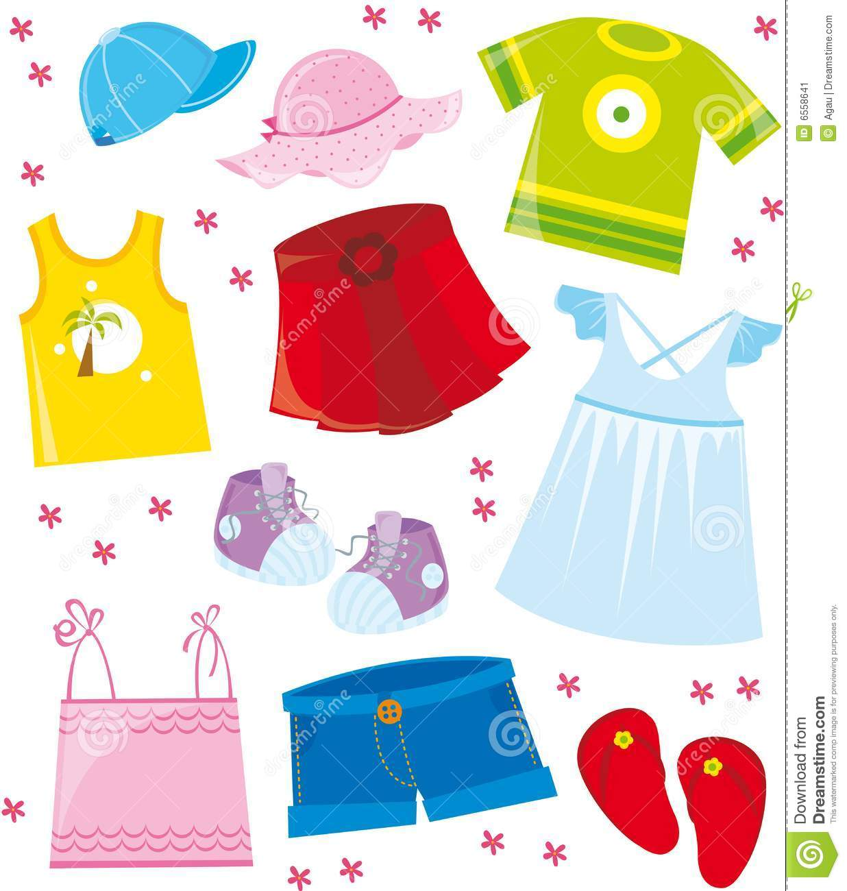 Clothes For Summer Season Clipart.