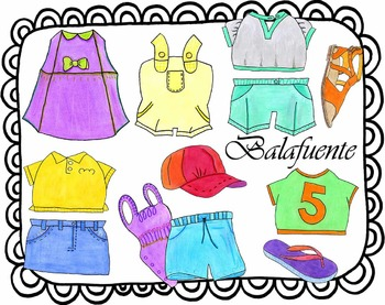 Spring and summer clothes clip art.