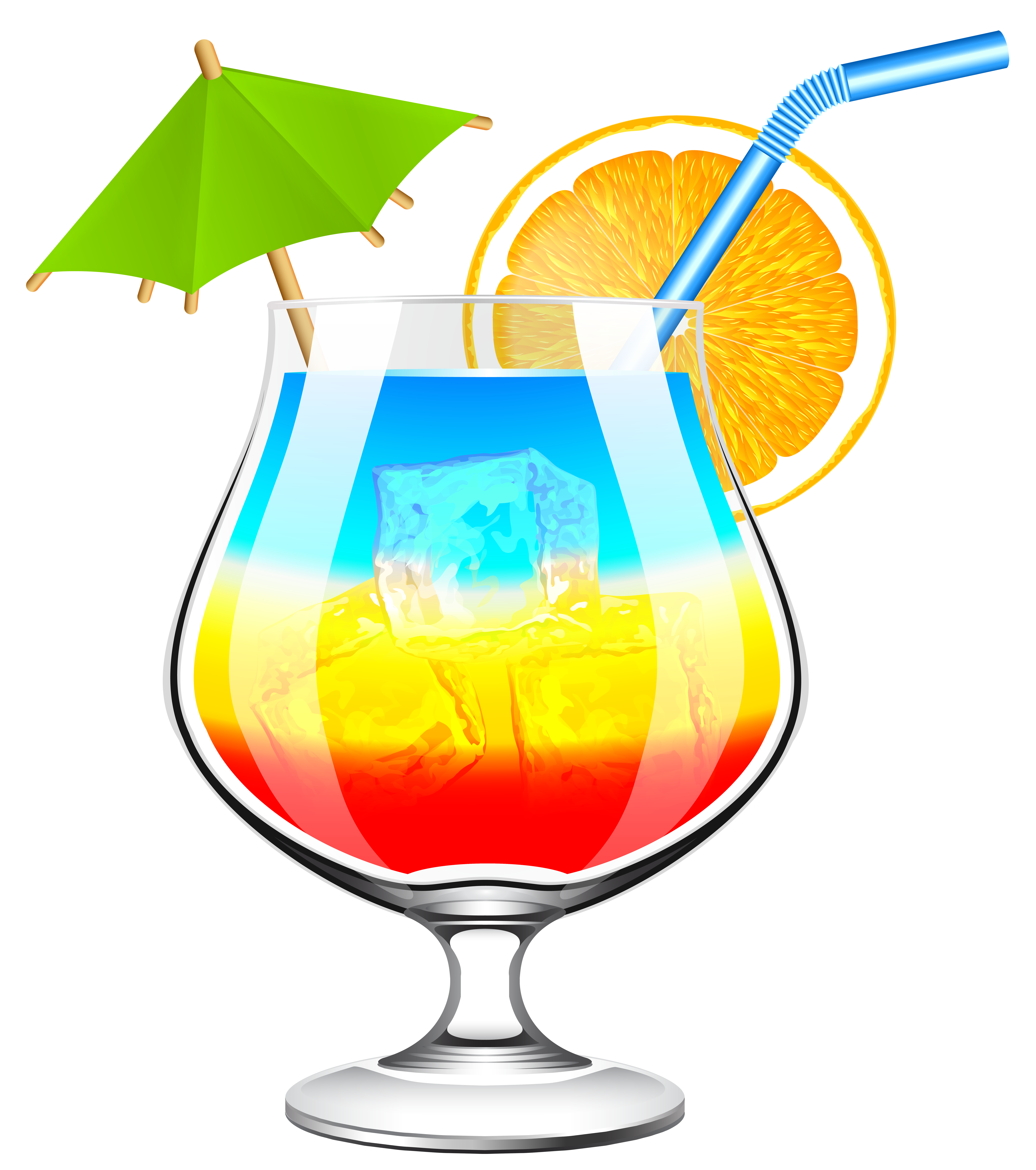 Summer Cocktail Transparent PNG Clip Art Image.